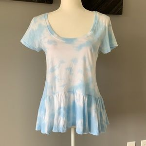 Daydreamer Tie Dye Peplum Tee Shirt Blue & White